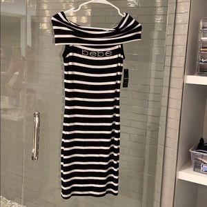 BEBE Black/white logo dress